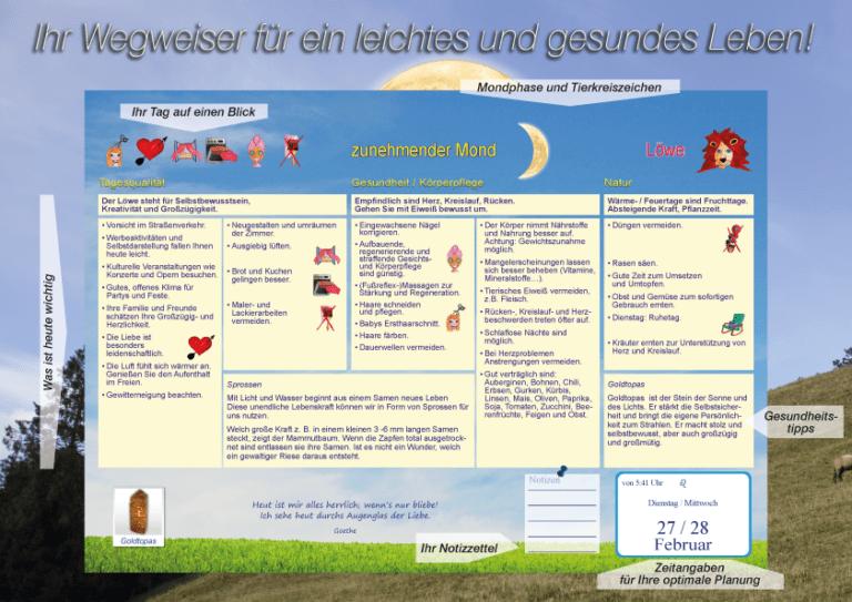 Gesundheitsmond Mondkalender Erklärung und Übersicht