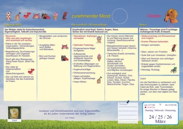 Gesundheitsmond Mondkalender Inhalt