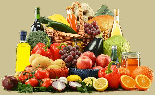 gesunde Lebensmittel mit Korb