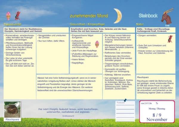 Beispielseite Steinbock mit zunehmendem Mond